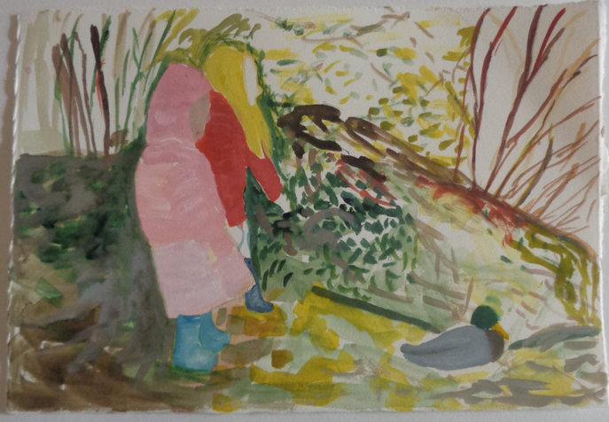 שתי ילדות אחרי ברווז שתי ילדות אחרי ברווז, 19X28 סמ