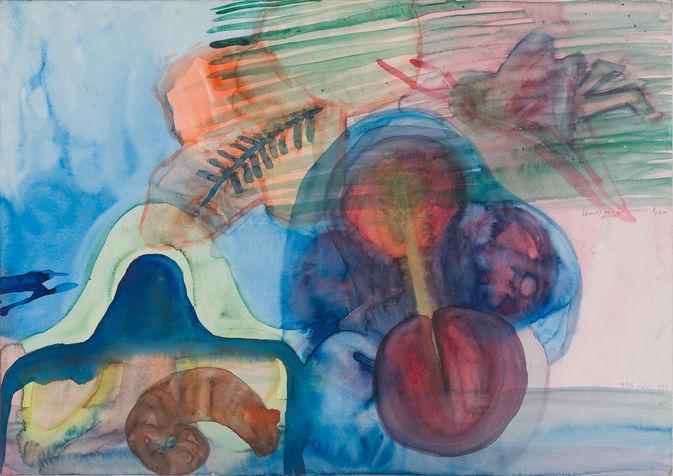 מעוף המלאכית אל השד הכחול, מתועד בספר העלה והעין, צבעי מים על נייר, 1995. אוסף פרטי