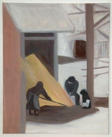סביב האח, 40x50 סמ, 2005, אוסף פרטי