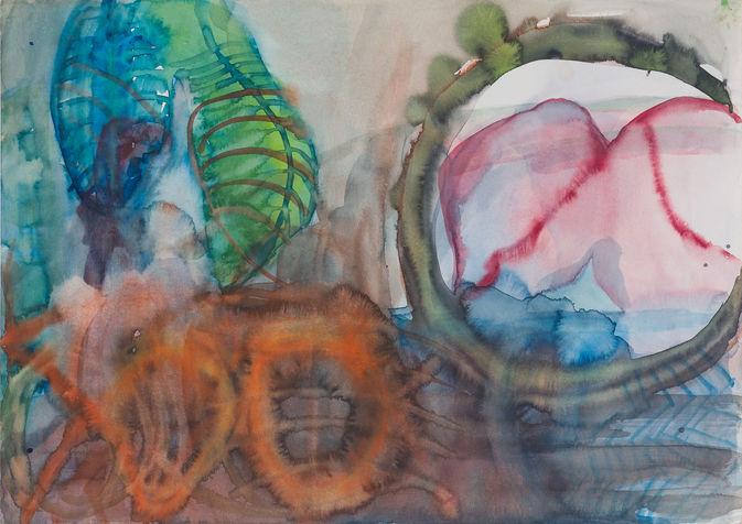 הנשיקה, מתועד בספר העלה והעין, צבעי מים על נייר, 1995. אוסף פרטי
