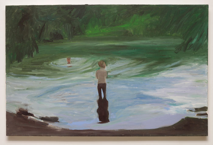 the wanderer woman at the lake, 50x77 cm