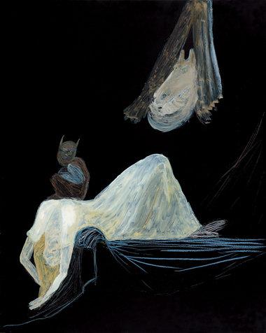 סיוט הלילה, אחרי הנרי פוזלי, 50x40 סמ. גירי צבע על פורמאיקה